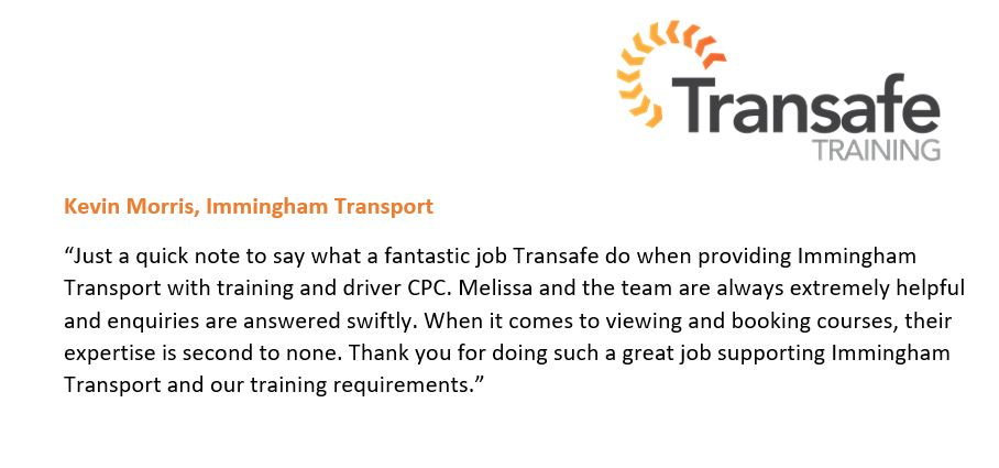 Great feedback from Immingham Transport