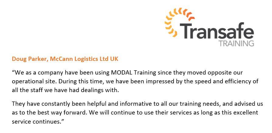 Great feedback from McCann logistics Ltd UK